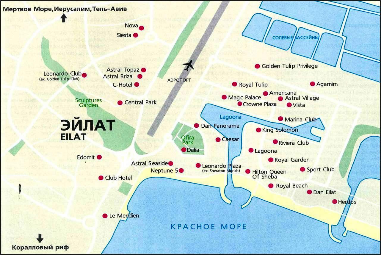 Отели эйлата на карте города